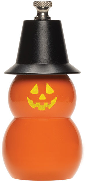 "4"" Jack O' Lantern with Black Hat Mill & Shaker"